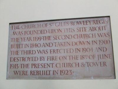 information board in Rowley Church